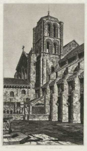 Print by John Taylor Arms: Basilica of the Madeline, Vézelay, or The Abbey Church of St, represented by Childs Gallery