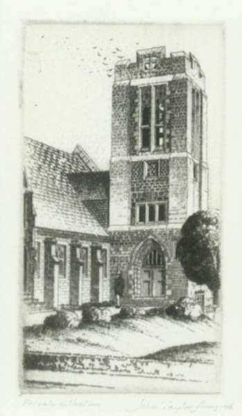 Print by John Taylor Arms: Chevy Chase Presbyterian Church, Washington, D.C., represented by Childs Gallery