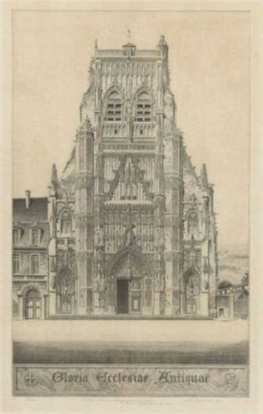 Print by John Taylor Arms: Gloria: Saint Riquier or The Church of Saint Riquier or Glor, represented by Childs Gallery