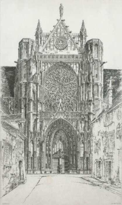 Print by John Taylor Arms: Gothic Glory, Sens Cathedral or Sens: Cathédrale de Saint Èt, represented by Childs Gallery