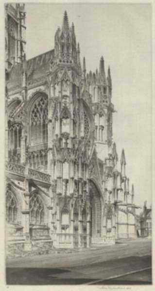 Print by John Taylor Arms: Memento Vivere, Notre Dame, Evreux, represented by Childs Gallery