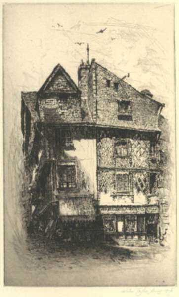 Print by John Taylor Arms: Old Saumur, Houses in the Rue Dacier or Saumur, Rue Dacier [, represented by Childs Gallery
