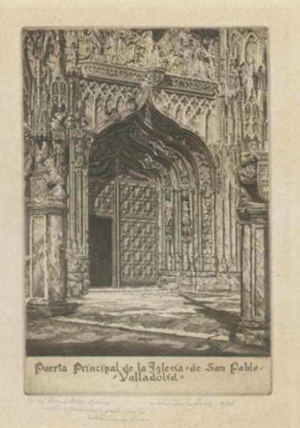 Print by John Taylor Arms: Puerta Principal de la Iglesia de San Pablo, Valladolid [Spa, represented by Childs Gallery