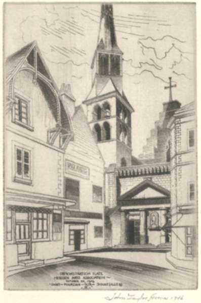 Print by John Taylor Arms: Saint-Pourcain-Sur-Sioule (Sketch), represented by Childs Gallery