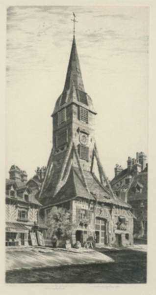 Print by John Taylor Arms: Saint Catherine's Belfry, Honfleur or Le Clocher de Sainte C, represented by Childs Gallery