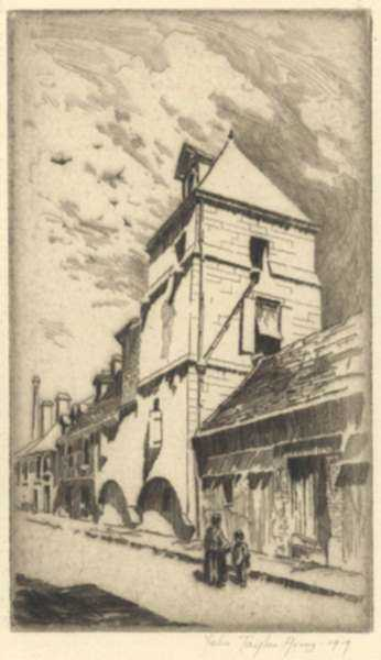 Print by John Taylor Arms: Sixteenth Century Tower, Lisieux (The Lisieux Tower, Sixteen, represented by Childs Gallery