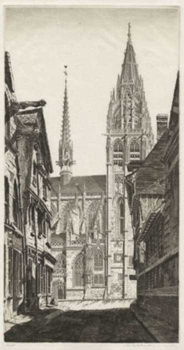 Print by John Taylor Arms: Sunlight on Stone, Caudebec-en-Caux [France], represented by Childs Gallery