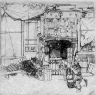 Print by John Winkler: Basket Mender, represented by Childs Gallery