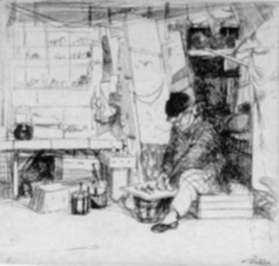 Print by John Winkler: Small Delicatessen Booth, represented by Childs Gallery
