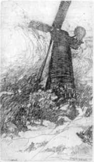 Print by John Winkler: Windmill at Golden Gate Park (San Francisco), represented by Childs Gallery