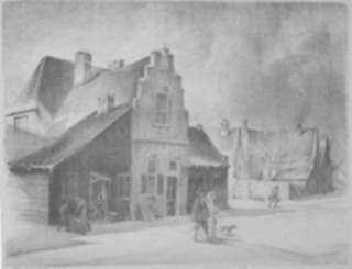 Print by Joseph A. Imhof: Neiuw Amsterdam [120 Broadway, New York-Time of Dutch], represented by Childs Gallery