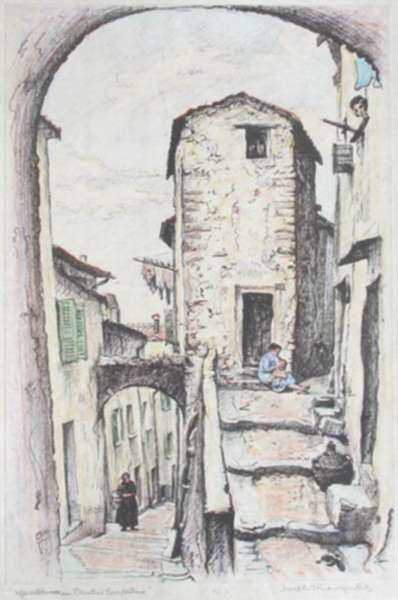 Print by Joseph Margulies: A Provincial Street of Archways or Street of Archways in Pro, represented by Childs Gallery