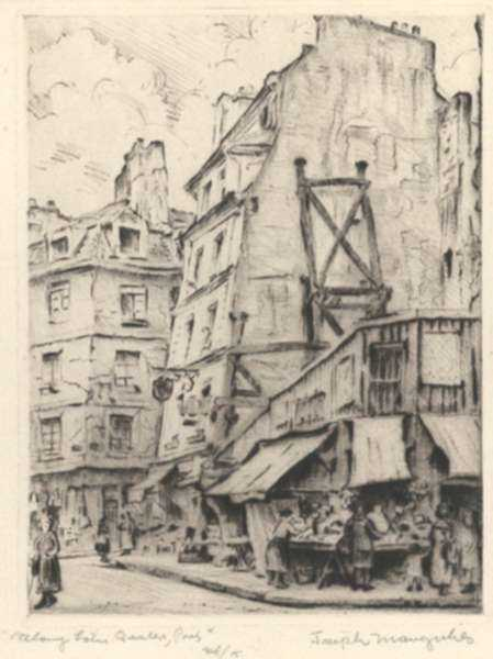 Print by Joseph Margulies: Along Latin Quarters, Paris [2] or Market at Left Bank, Pari, represented by Childs Gallery