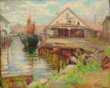 Painting by Joseph Margulies: Fishing Boat at Old Dock, represented by Childs Gallery