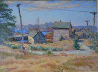 Painting by Joseph Margulies: Fishing Shacks, represented by Childs Gallery