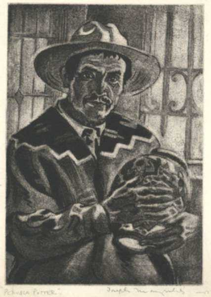 Print by Joseph Margulies: Pueblo Potter, represented by Childs Gallery