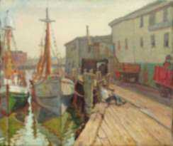 Painting by Joseph Margulies: Sitting at the Dock, Seven Seas Wharf, Gloucester, represented by Childs Gallery