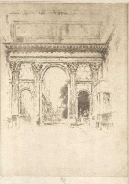 Print by Joseph Pennell: Cumberland Gate, Regents Park [London], represented by Childs Gallery