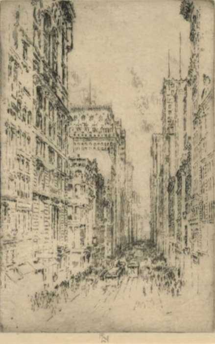 Print by Joseph Pennell: Lower Broadway, represented by Childs Gallery