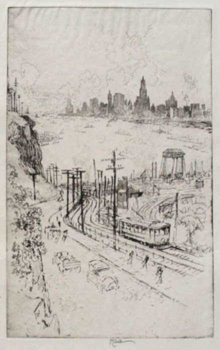 Print by Joseph Pennell: New York, from New Jersey, represented by Childs Gallery