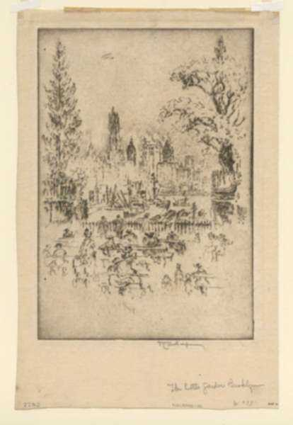 Print by Joseph Pennell: New York, From the Little Garden, Brooklyn , represented by Childs Gallery