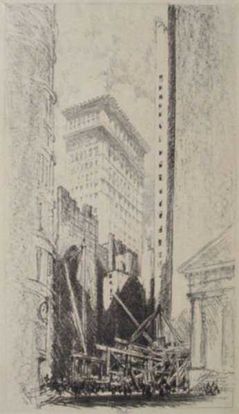 Print by Joseph Pennell: Rebuilding Broad Street [New York City], represented by Childs Gallery