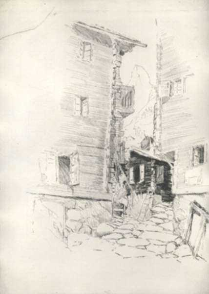 Drawing by Joseph Pennell: The Art Element, Zermatt [Switzerland], represented by Childs Gallery