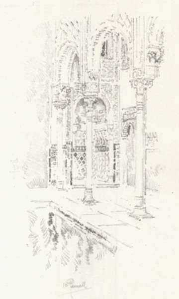 Print by Joseph Pennell: The Court of Myrtles [Spain], represented by Childs Gallery