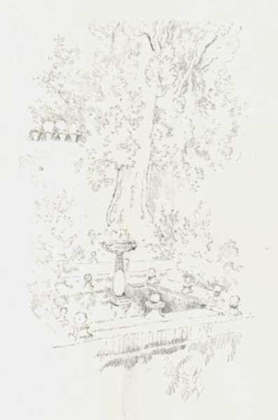 Print by Joseph Pennell: The Cypress of Zorayda [Spain], represented by Childs Gallery