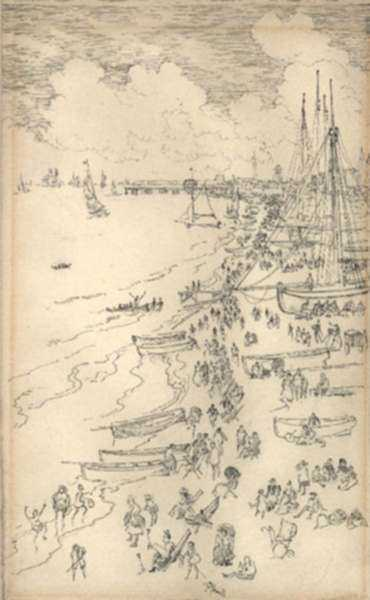 Drawing by Joseph Pennell: Yarmouth Beach [Great Yarmouth Beach, Norfolk, England], represented by Childs Gallery