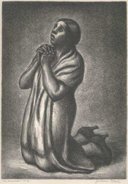 Print by Julius Bloch: A Mourner, represented by Childs Gallery