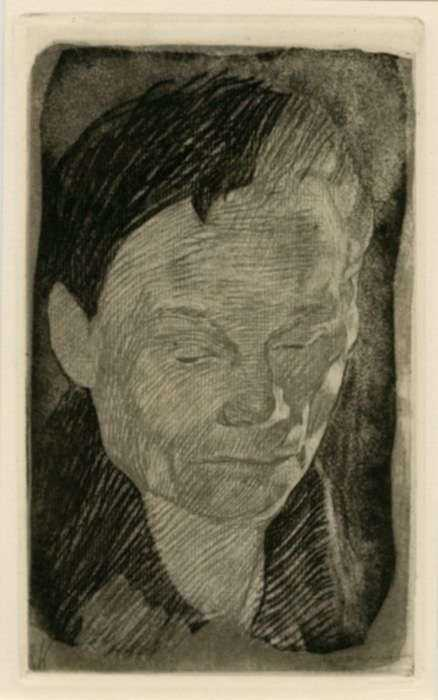 Print by Käthe Kollwitz: Frauenkopf [Female Head], represented by Childs Gallery