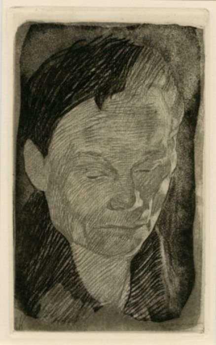 Print by Käthe Kollwitz: Frauenkopf [Female Head], represented by Childs Gallery