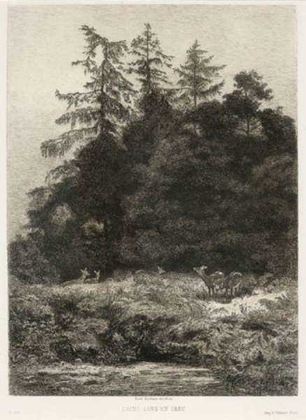 Print by Karl Bodmer: Daims Dans un Parc (Deer in a Park), represented by Childs Gallery