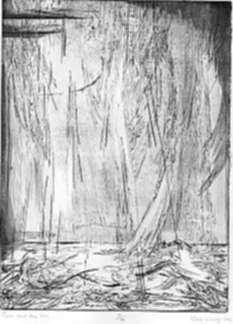 Print by Karl Schrag: Rain and the Sea, represented by Childs Gallery