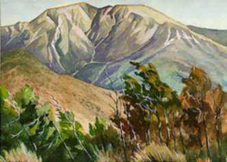 Watercolor by Keith Shaw Williams: Mountain Scene, represented by Childs Gallery