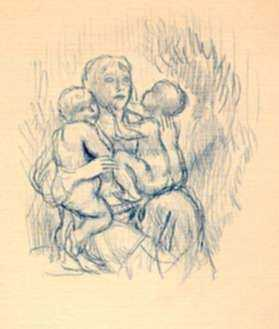 Drawing by Kenneth Hayes Miller: [Woman and Two Children], represented by Childs Gallery