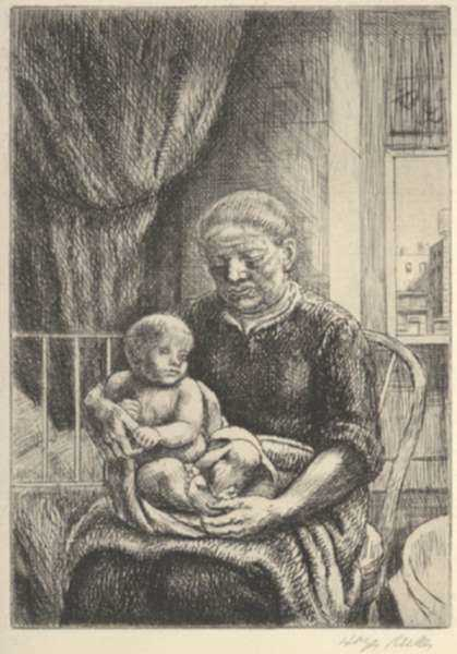Print by Kenneth Hayes Miller: Nurse and Child, represented by Childs Gallery