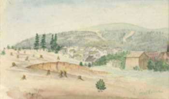 Watercolor by L. Galline: La Plata N. Mexico (near Mesa Verde, National Park, Colorado, represented by Childs Gallery