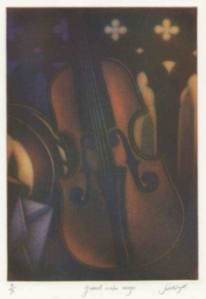 Print by Laurent Schkolnyk: Grand Violon Rouge, represented by Childs Gallery