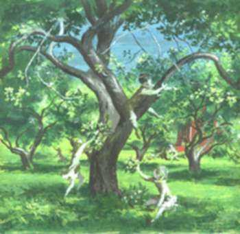 Painting by Lawrence Beall Smith: Children Playing in an Orchard, represented by Childs Gallery