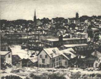 Print by Lawrence Nelson Wilbur: Gloucester Harbor, represented by Childs Gallery