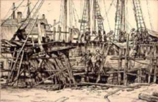 Print by Lawrence Nelson Wilbur: Ship Building, Gloucester, represented by Childs Gallery