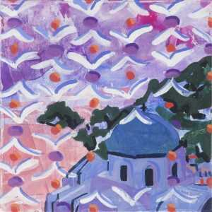 Mixed Media By Lee Essex Doyle: Santorini Sky At Childs Gallery