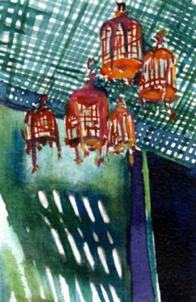 Mixed media by Lee Essex Doyle: Study for Terrace Lanterns, represented by Childs Gallery