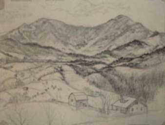 Drawing by Leo Meissner: [Mountain Farm, North Carolina], represented by Childs Gallery