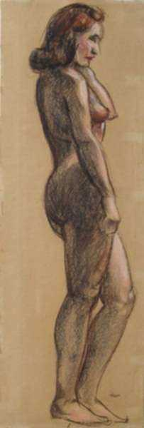 Pastel by Leo Meissner: [Standing Female Nude], represented by Childs Gallery