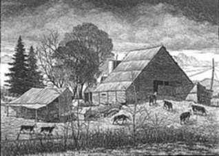 Print by Leo Meissner: Jeter Spivey's Place [North Carolina] (unsigned), represented by Childs Gallery