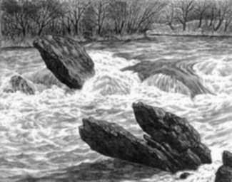 Print by Leo Meissner: Oconaluftee Rapids [Great Smoky Mountains, North Carolina], represented by Childs Gallery