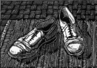 Print by Leo Meissner: Old Shoes, represented by Childs Gallery